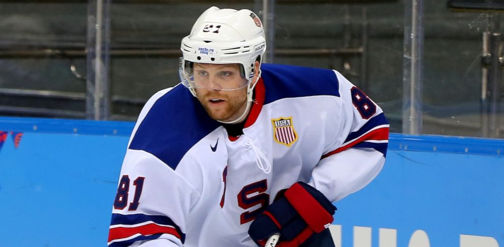 PHOTO: Phil Kessel #81 of the United States handles the puck during the 2014 Winter Olympics mens ice hockey game at Shayba Arena Sunday, Feb. 16, 2014, in Sochi, Russia.