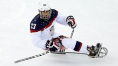 PHOTO: Rico Roman of USA during the ice sledge hockey preliminary match between the USA and Korea at Shayba Arena, March 9, 2014, in Sochi, Russia.