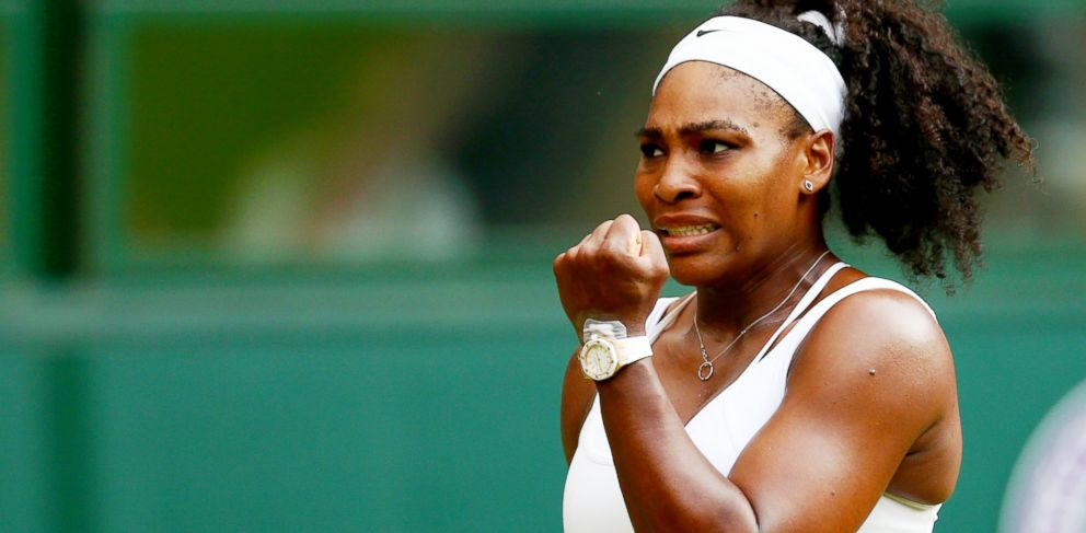 PHOTO: Serena Williams of the United States celebrates in her Ladies Singles Second Round match against Timea Babos of Hungary during day three of the Wimbledon Lawn Tennis Championships at the All England Lawn Tennis and Croquet Club, July 1, 2015.
