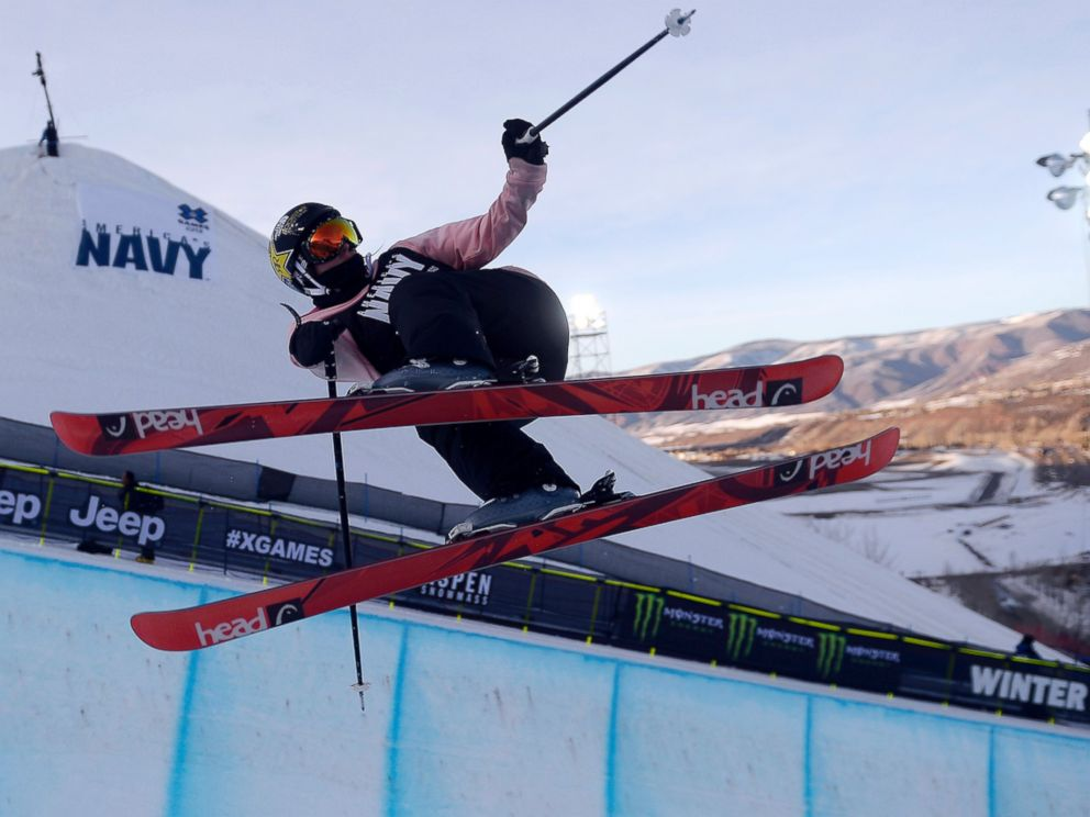 PHOTO: Maddie Bowman makes a hit during the womens ski halfpipe final , Jan. 24, 2014.
