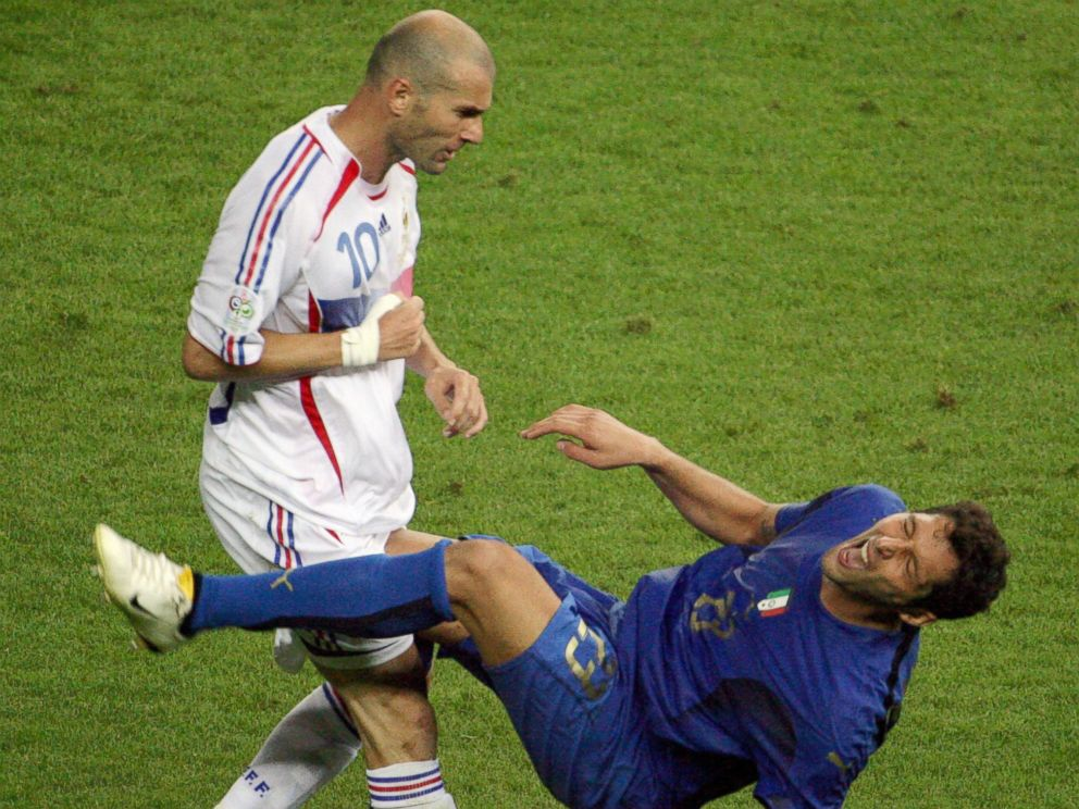 PHOTO: French midfielder Zinedine Zidane, left, gestures after head-butting Italian defender Marco Materazzi, right, during the 2006 World Cup on July 9, 2006 in Berlin, Germany.