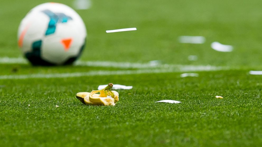 PHOTO: A banana thrown by supporters of RCD Espanyol during the La Liga match between RCD Espanyol and FC Barcelona at Cornella-El Prat Stadium, March 29, 2014, in Barcelona.
