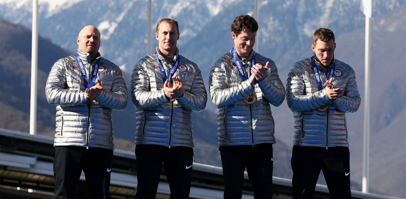 PHOTO: Bronze medalists the United States team 1 celebrate on the podium during the medal ceremony for the four-man bobsleigh on Feb. 23, 2014 during the Sochi 2014 Winter Olympics in Sochi, Russia.