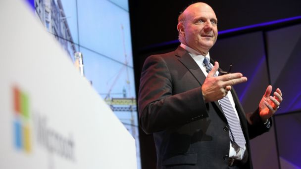PHOTO: Then Microsoft CEO Steve Ballmer speaks at the opening of the Microsoft Center Berlin, Nov. 7, 2013 in Berlin.