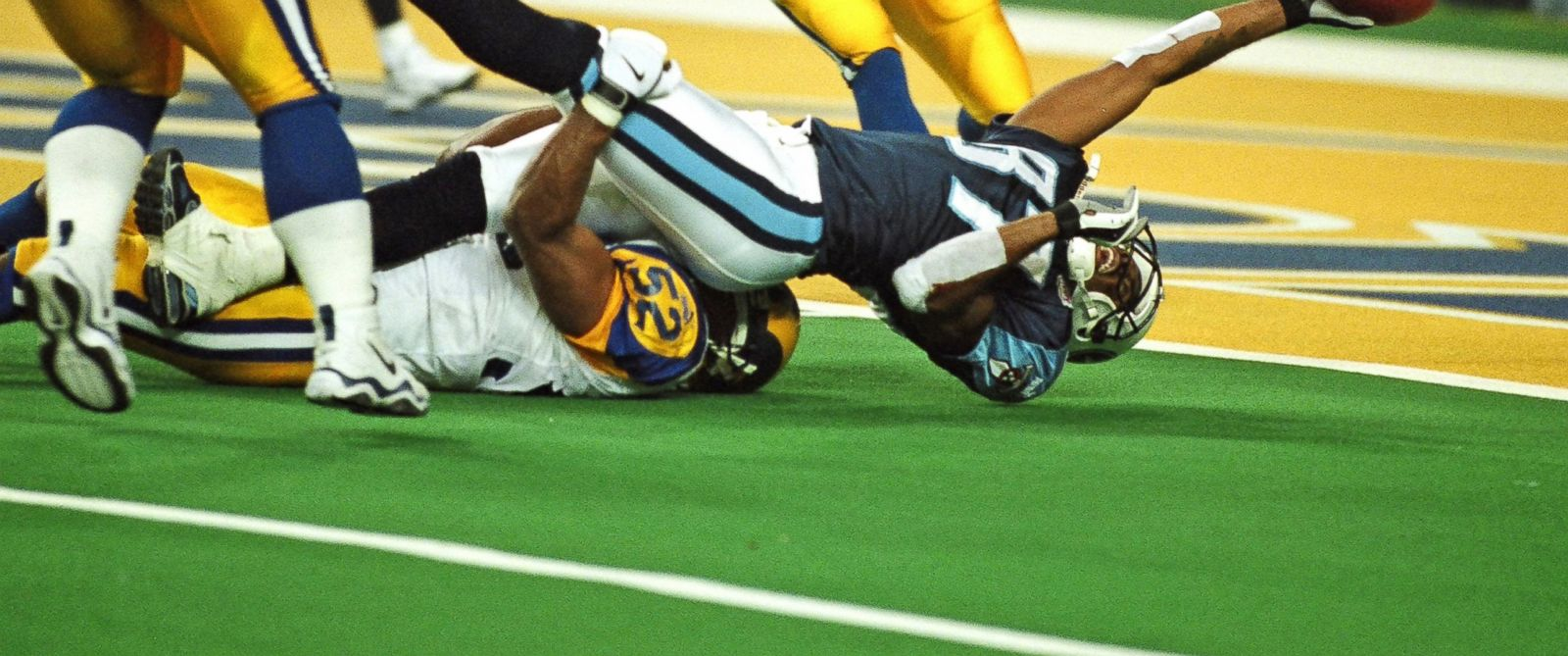 PHOTO: Tennessee Titans receiver Kevin Dyson is tackled just short of the goal line by St. Louis Rams linebacker Mike Jones on the last play of Super Bowl XXXIV at the Georgia Dome in Atlanta, GA on Jan. 30, 2000.