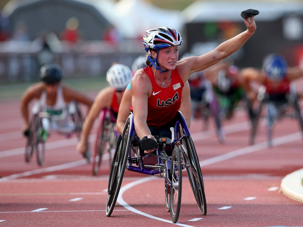 PHOTO: Tatyana McFadden celebrates winning the womens 5000m T54 final during day two of the IPC Athletics World Championships, July 21, 2013, in Lyon, France.
