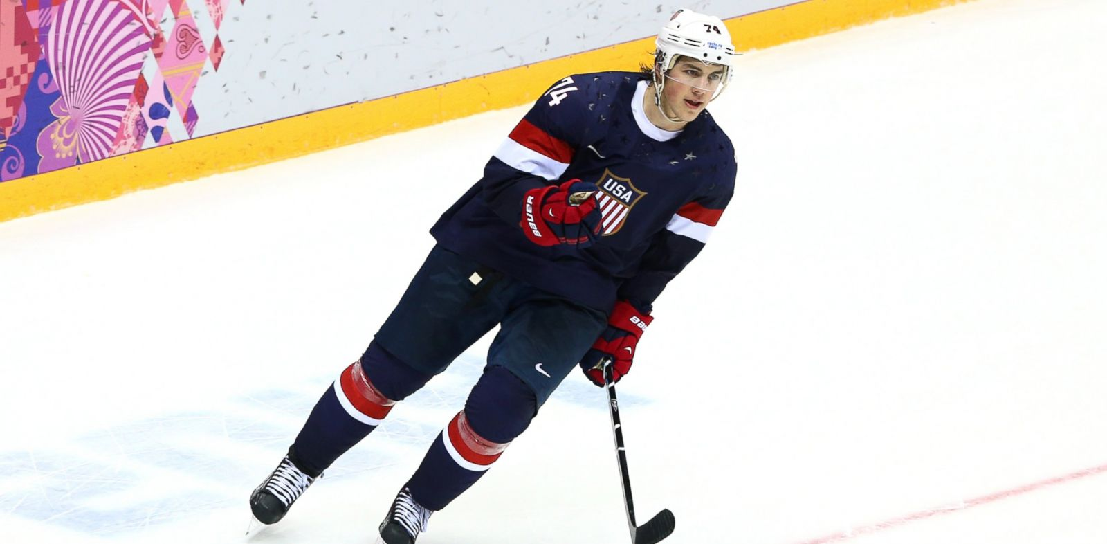 PHOTO: T.J. Oshie #74 of the United States celebrates after scoring a shootout goal against Russia during the mens ice hockey preliminary round game at the Sochi 2014 Winter Olympics at Bolshoy Ice Dome on Feb. 15, 2014 in Sochi, Russia.