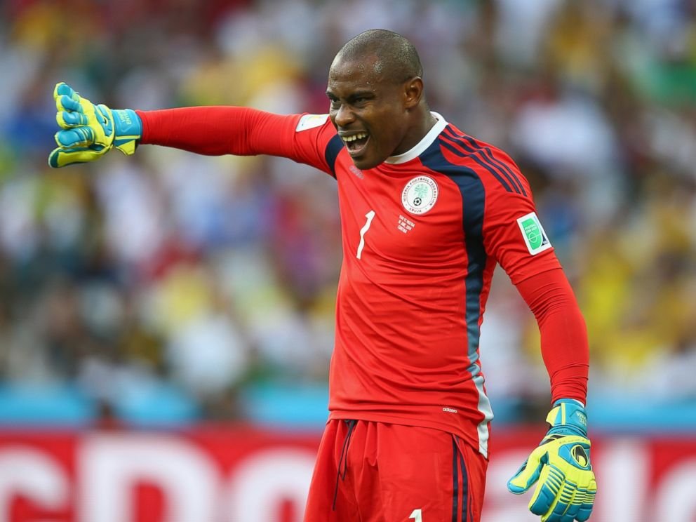 PHOTO: Vincent Enyeama of Nigeria gestures during the 2014 FIFA World Cup Brazil Group F match between Iran and Nigeria at Arena da Baixada on June 16, 2014 in Curitiba, Brazil.