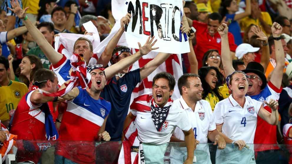 PHOTO: U.S. fans celebrate during the 2014 FIFA World Cup Brazil Group G match between Ghana and the United States at Estadio das Dunas, June 16, 2014, in Natal, Brazil.