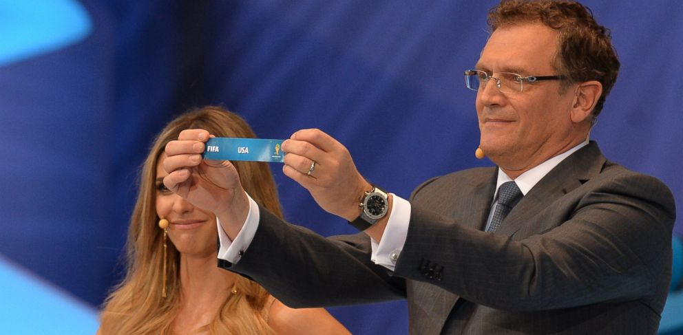 PHOTO: FIFA Secretary General Jerome Valcke shows the name of the United States