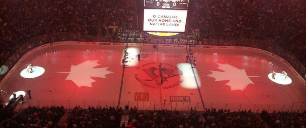 """O Canada"" is performed before the start of a NHL game between the Pittsburgh Penguins and Philadelphia Flyers, Oct. 22, 2014."