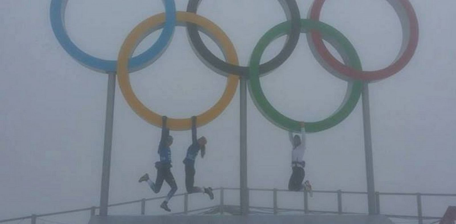 "PHOTO: Sara Studebaker posted this photo to Facebook, ""Too foggy for biathlon, but we had a fun morning anyway!"""