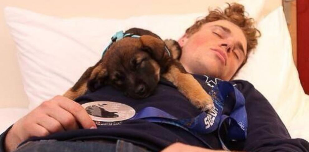 PHOTO: Gus Kenworthy posted this picture of himself and his adopted puppy Rosa in Sochi, Russia, to Twitter, Feb. 19, 2014.