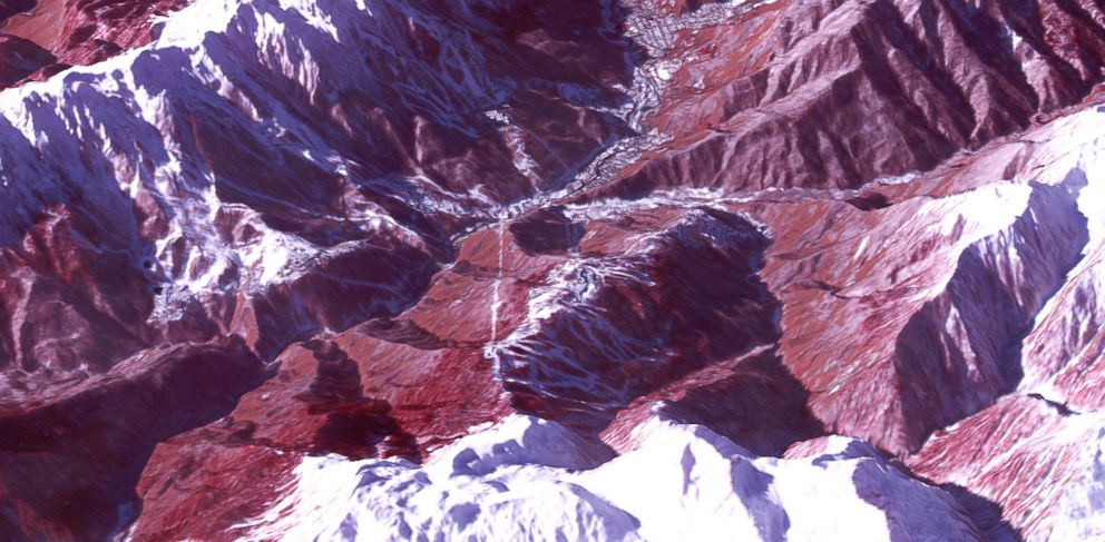 PHOTO: A satellite image of the Rosa Khutar ski resort, in the mountains near Sochi, where the Winter Olympics skiing and snowboarding events are taking place.