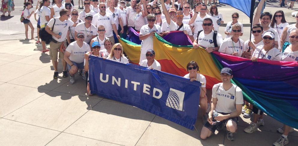 "PHOTO: United Airlines was named one of the ""Top Companies for Lesbian, Gay, Bisexual and Transgender (LGBT) Equality"" for 2013 by Work Life Matters"