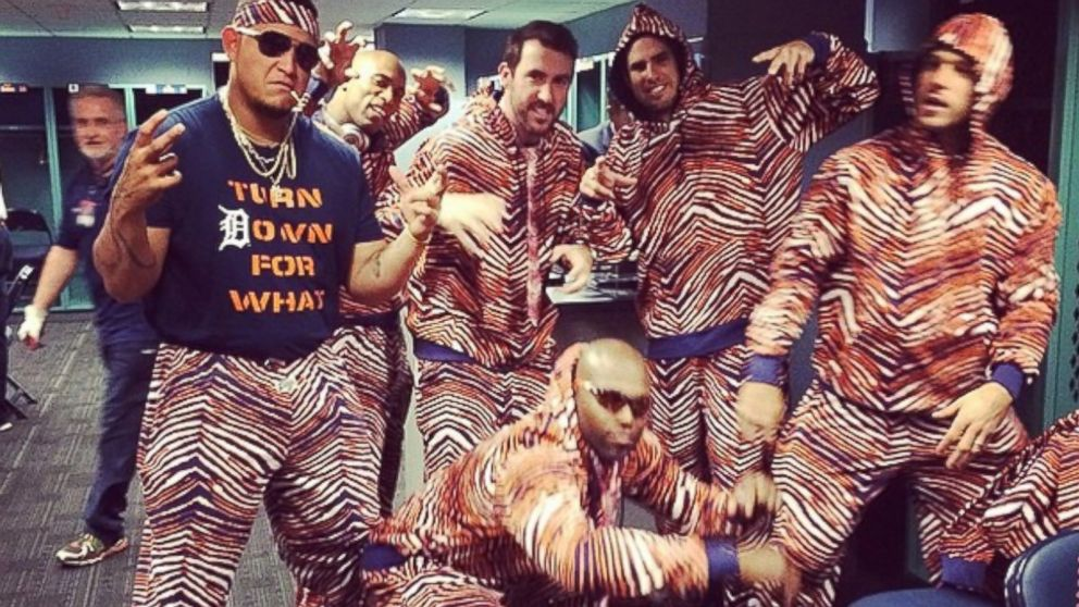 Detroit Tigers players, including Miguel Cabrera, Justin Verlander and Torii Hunter, pose in their Zubaz outfits, May 18, 2014.