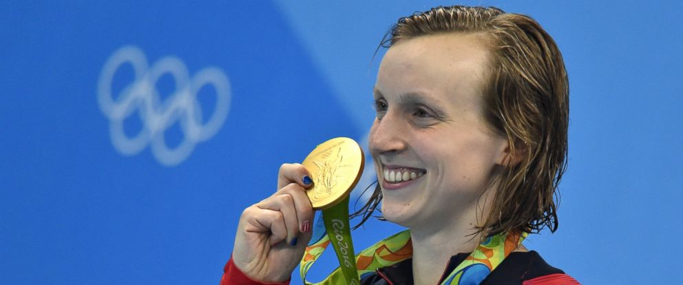 PHOTO: Katie Ledecky winner of the Gold Medal, 200m Butterfly at the 2016 Rio Olympic Games on Aug. 9, 2016, in Rio De Janeiro.