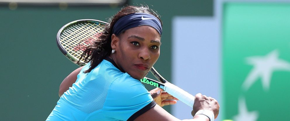 PHOTO: Serena Williams returns a shot against Victoria Azarenka of Belarus during the womens final of the 2016 BNP Paribas Open at Indian Wells Tennis Garden in Indian Wells, Calif, March 20, 2016.