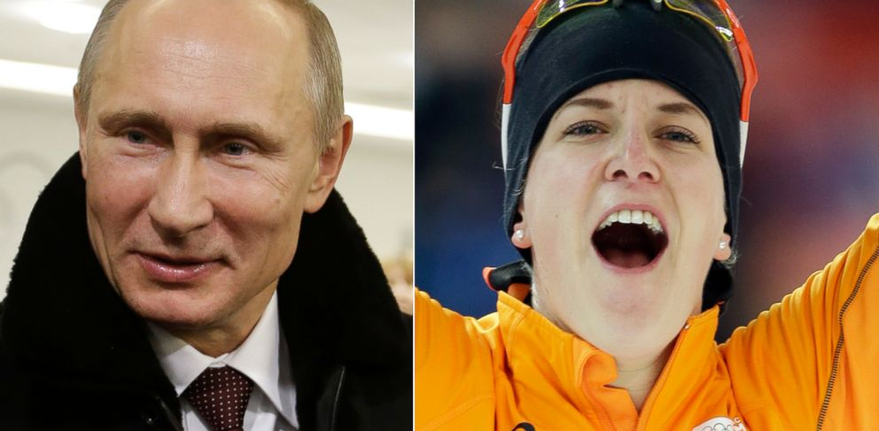 PHOTO: Dutch speedskater Ireen Wust (right), the first openly gay gold medalist at the Sochi Olympic games, says Russian President Vladimir Putin congratulated her following her gold medal performance.