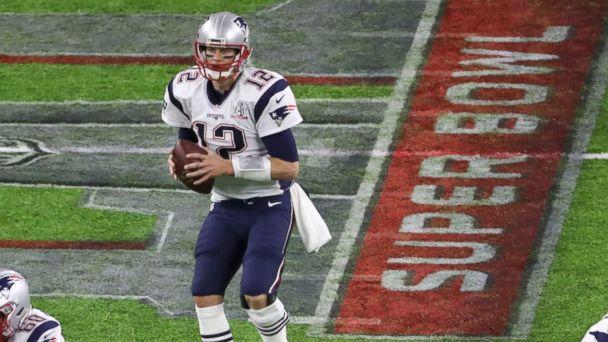 PHOTO: New England Patriots' quarterback Tom Brady looks to pass during the third quarter against the Atlanta Falcons at Super Bowl LI in Houston, Texas, on Feb. 5, 2017.