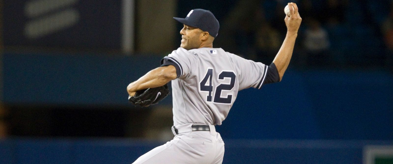 PHOTO: New York Yankees pitcher Mariano Rivera throws against the Toronto Blue Jays in the ninth inning of their American League MLB baseball game in Toronto Sept. 18, 2013.