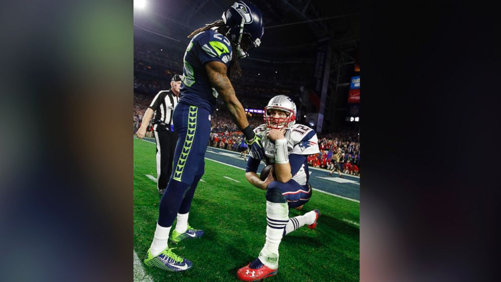 Super bowl 2015 richard sherman congratulates tom brady following new england win abc news