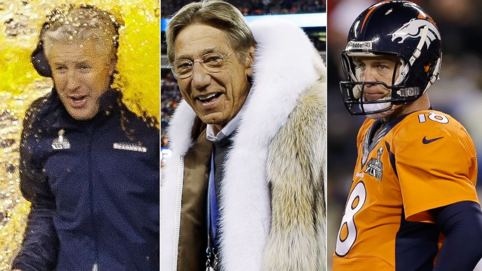PHOTO: (L to R): Seahawks head coach Pete Carroll, Jets legend Joe Namath, and Broncos QB Peyton Manning contributed to key moments during Super Bowl XLVIII.