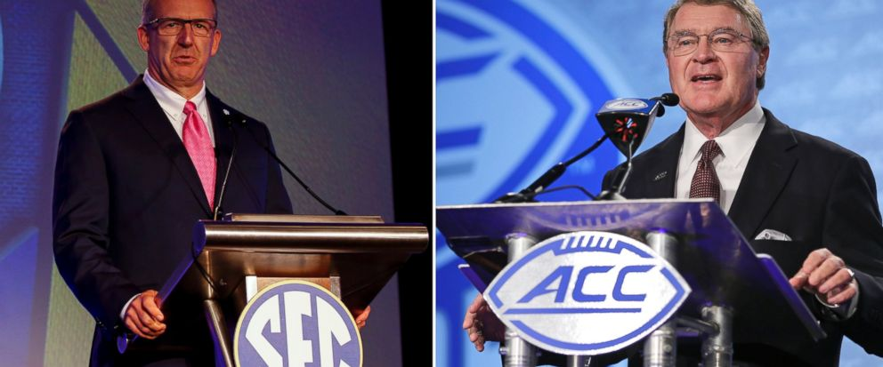 FILE - At left, in a July 10, 2017, file photo, SEC conference commissioner Greg Sankey speaks during the NCAA college football Southeastern Conferences annual media gathering in Hoover, Ala. At right, in a July 13, 2017, file photo, ACC Commissione