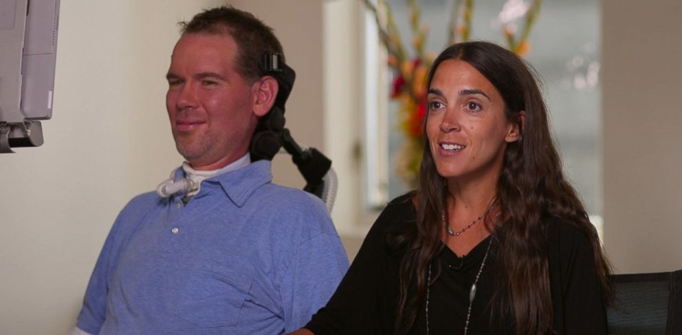 Former Saints defensive back Steve Gleason (left) and his wife Michel Varisco (right) talk about the new documentary Gleason about their lives as new parents and Gleasons battle with ALS.