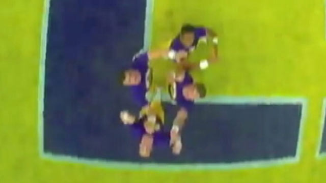 PHOTO: Football fans used to sitting in the stands can now see firsthand what its like to be on the field, or flying hundreds of yards above it thanks to the innovative camera use of a cheerleader at Louisiana State University (LSU).