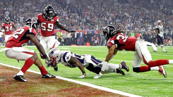 PHOTO: New England Patriots' James White gets into the end zone for a touchdown during the second half of the NFL Super Bowl 51 football game against the Atlanta Falcons, Feb. 5, 2017, in Houston.