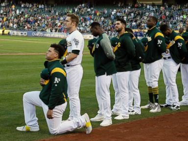 Oakland's Maxwell first MLB player to kneel during anthem