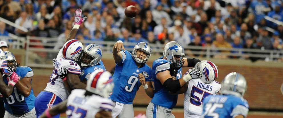 PHOTO: Detroit Lions quarterback Matthew Stafford passes during the third quarter of an NFL football game against the Buffalo Bills, Oct. 5, 2014, in Detroit.