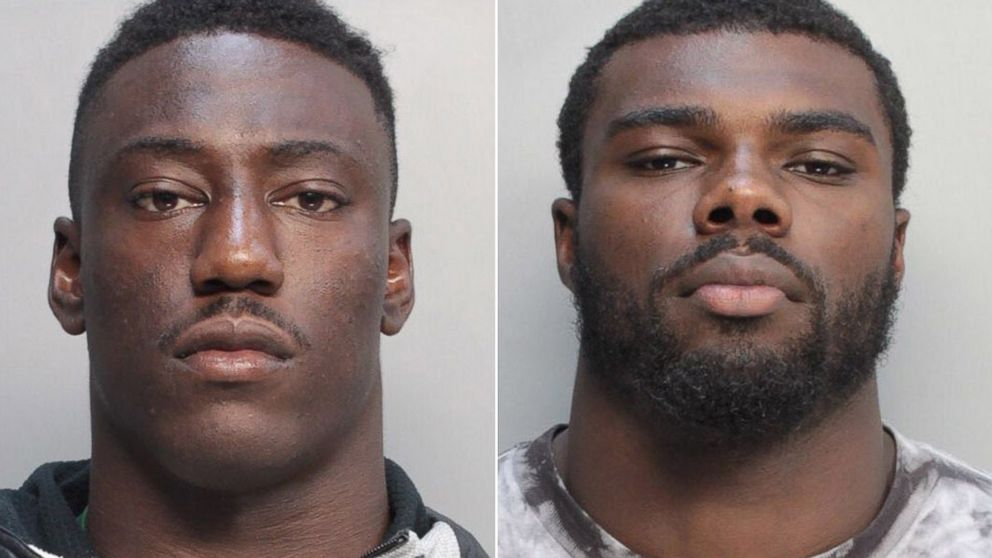 PHOTO: University of Miami football players, JaWand Blue and Alexander Figueroa are shown in booking photos on July 8, 2014.