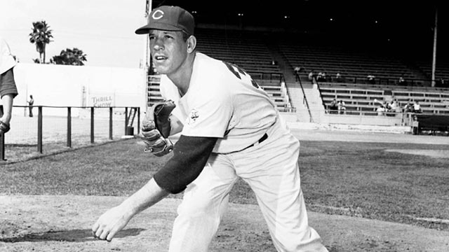 PHOTO: Cincinnati Reds' Joe Nuxhall throws a pitch in this 1956 file photo.