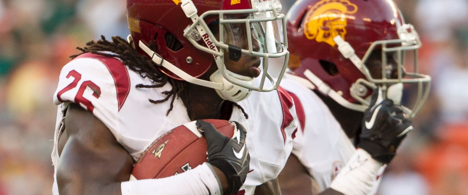 PHOTO: Southern California cornerback Josh Shaw runs back an interception for a touchdown against Hawaii during the second quarter of an NCAA college football game in Honolulu on Aug. 29, 2013.