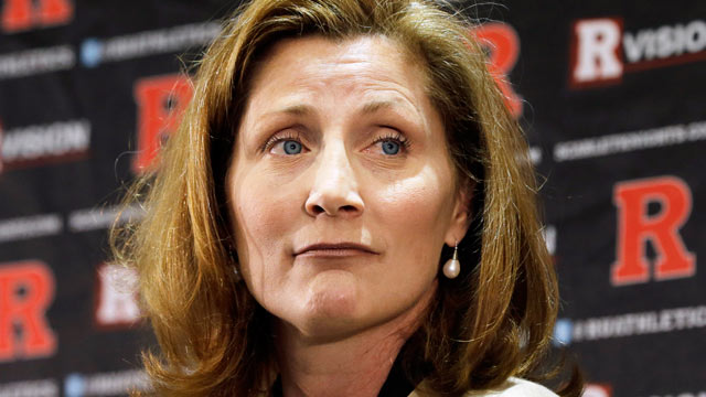 PHOTO: Julie Hermann listens during a news conference where she was introduced as the new athletic director at Rutgers University, May 15, 2013, in Piscataway, N.J.