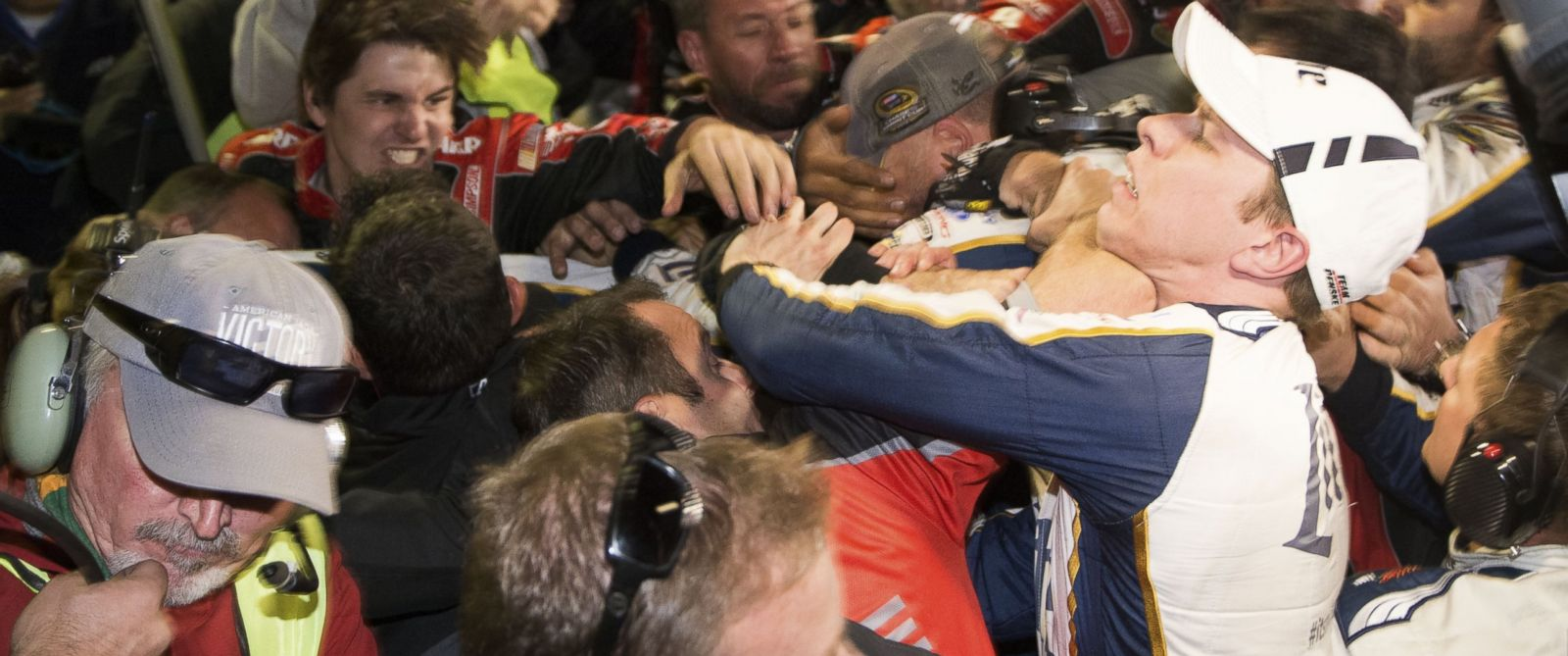 PHOTO: Brad Keselowski, right, is punched during a fight after the NASCAR Sprint Cup Series auto race at Texas Motor Speedway in Fort Worth, Texas, Nov. 2, 2014.