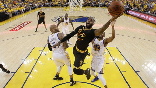 PHOTO: Cleveland Cavaliers forward LeBron James (23) shoots against the Golden State Warriors during the first half of Game 7 of basketball's NBA Finals in Oakland, Calif., Sunday, June 19, 2016.