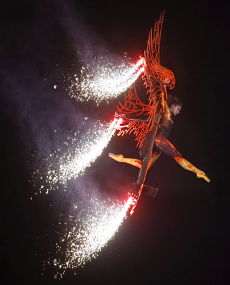 A performer is suspended over the Olympic Stadium during the Closing Ceremony at the 2012 Summer Olympics, Monday, Aug. 13, 2012, in London.
