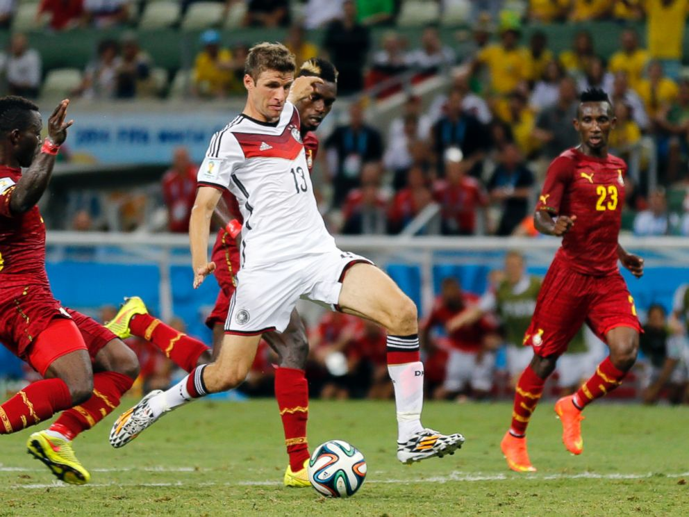 PHOTO: Germanys Thomas Mueller takes a shot during the group G World Cup soccer match between Germany and Ghana at the Arena Castelao in Fortaleza, Brazil, June 21, 2014.