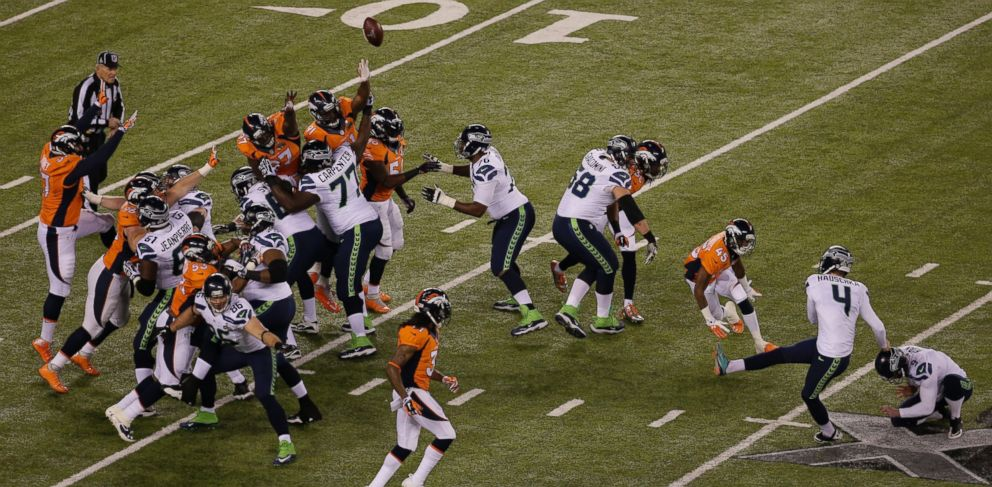 PHOTO: Seattle Seahawks Steven Hauschka (4) kicks a field goal during the first half of the NFL Super Bowl XLVIII football game against the Denver Broncos on Feb. 2, 2014, in East Rutherford, N.J.