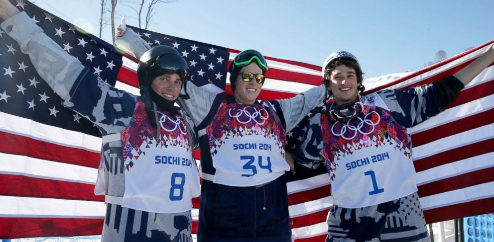 PHOTO: Mens ski slopestyle medalists from the US Gus Kenworthy, left, silver, Joss Christensen, center, gold, and Nicholas Goepper, bronze, right, pose at Rosa Khutor Extreme Park at the 2014 Winter Olympics on Feb. 13, 2014, in Krasnaya Polyana, Russia.