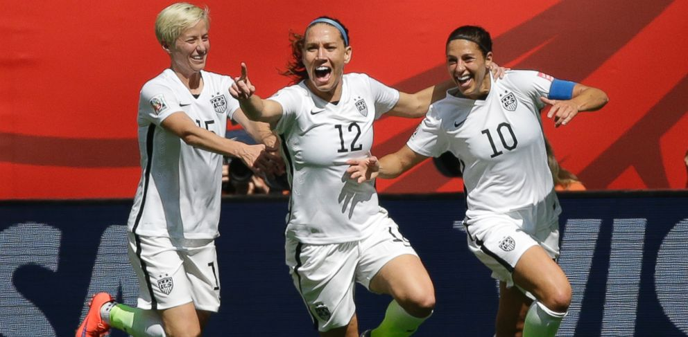 PHOTO: From left, United States Megan Rapinoe, Lauren Holiday, and Carli Lloyd celebrate after Lloyd scored her second goal of the match against Japan in the Womens World Cup soccer championship in Vancouver, British Columbia, Sunday, July 5, 2015.