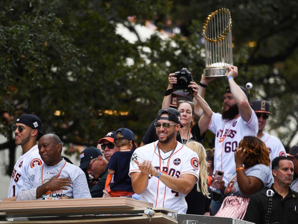PHOTO: Houston Astros center fielder George Springer (4) greets fans during the World Series championship parade and rally for the Houston Astros in downtown Houston, Nov. 3, 2017.