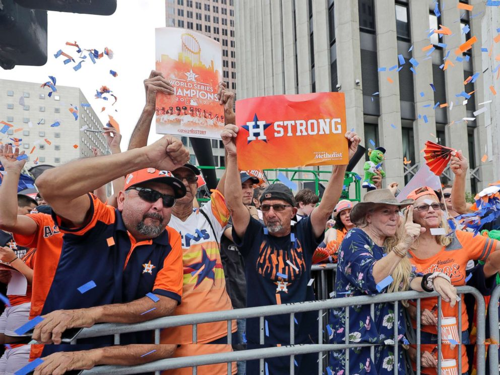 PHOTO: Houston Astros fans celebrate before a parade honoring the World Series baseball champions, Nov. 3, 2017, in Houston.