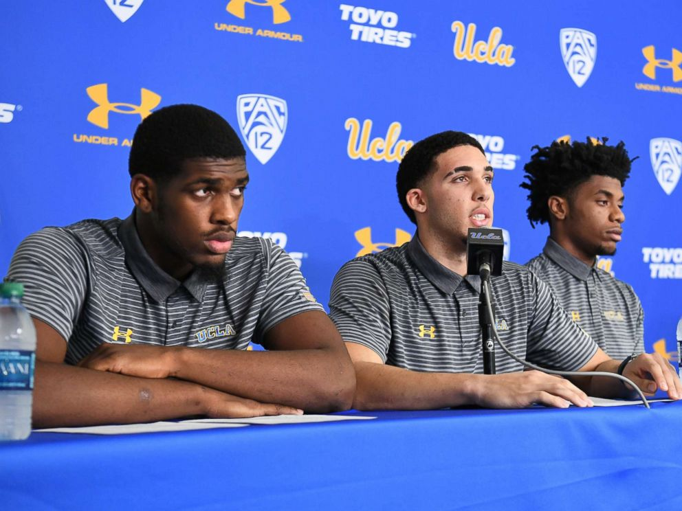 PHOTO: UCLA basketball players (L-R) Cody Riley, LiAngelo Ball and Jalen Hill give statements at Pauley Pavilion about their arrests in China during a press conference, Nov. 15, 2017 in Los Angeles.
