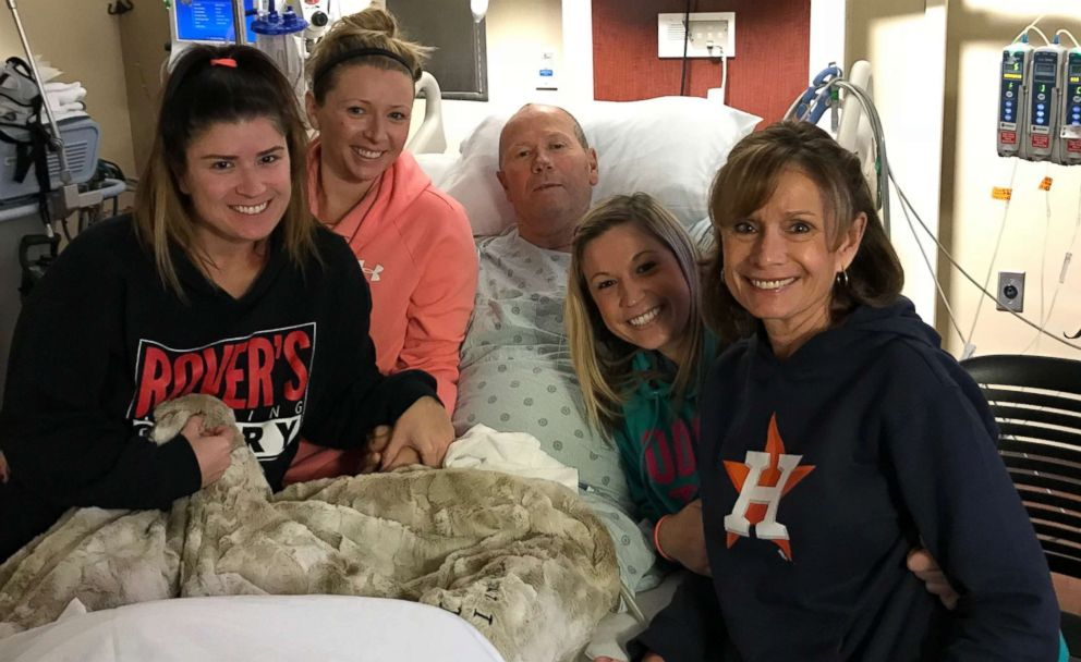 PHOTO: Rich Dauer and his family in the hospital while he was recovering from brain surgery.