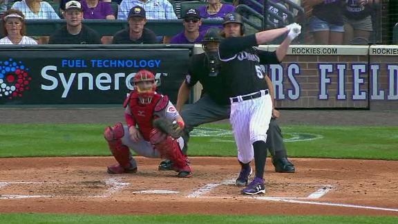 Rockies pitcher hits 467-foot bomb for first career home run