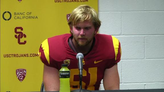 USC blind long snapper Jake Olson snaps on extra point